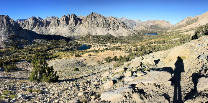 Panoramic landscape in Sierra Nevada Mountain Range on Bullfrog Lake Trail. Looking towards Mount Rixford, California by Phoenix commercial photographer Jason Koster.
