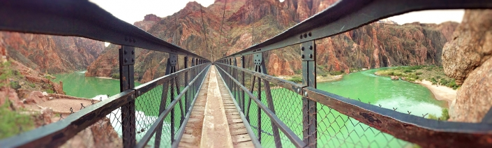 Panoramic of the Bright Angel Bridge in the Grand Canyon by Phoenix commercial photographer Jason Koster.