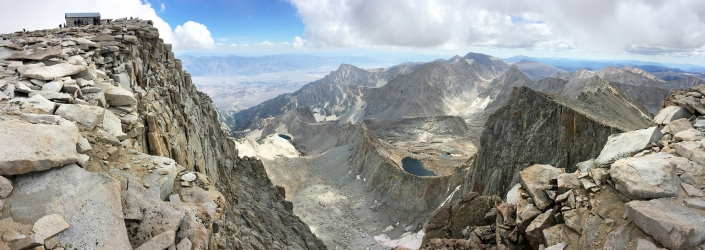 John Muir Trail mile 210. Panoramic landscape near Mount Whitney, California summit. Looking East towards Lone Pine, California. Image by Phoenix commercial photographer Jason Koster.