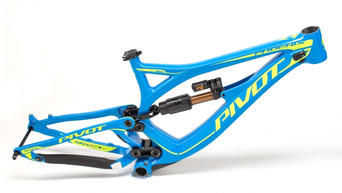 Studio Product Photography: blue Pivot Cycles, Phoenix model mountain bike frame.