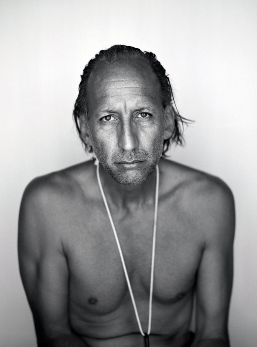 Black and White, Fine Art Portrait of Bill Tonnesen at Burning Man by commercial photographer Jason Koster.