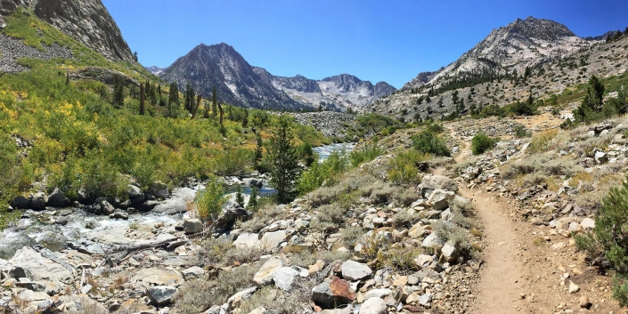 John Muir Trail mile 167 panoramic landscape at White Fork and Woods Creek junction by Phoenix commercial photographer Jason Koster.