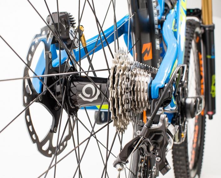 Product photography of Rear hub on Pivot Cycles, Phoenix mountain bike.