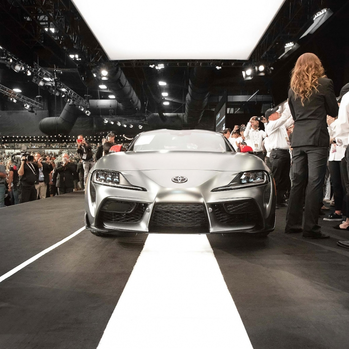 Editorial photography of 2019 Toyota Supra being auctioned at Barrett-Jackson. Image by commercial photographer Jason Koster