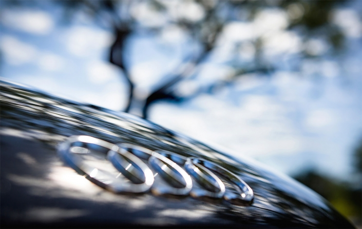 Editorial photography of Audi R8 emblem abstract by Phoenix commercial photographer Jason Koster.