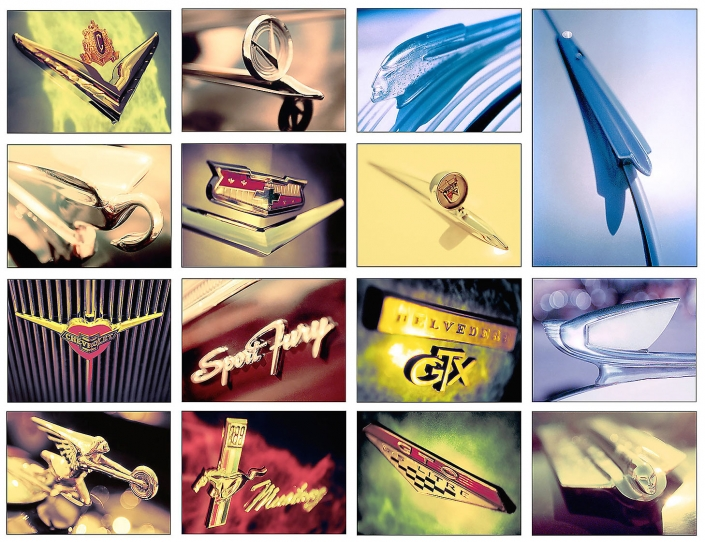 Editorial photography of collage of vintage car emblems. GTO, GTX, Pontiac, Chrysler, Chevrolet, Ford, Mustang, Mercury by Phoenix commercial photographer Jason Koster