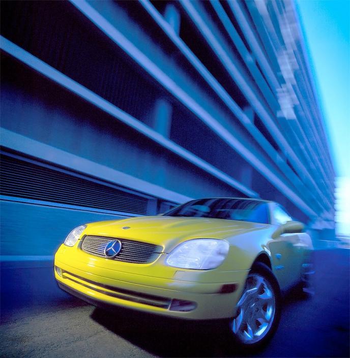 Automotive editorial Yellow Mercedes Benz action Phoenix editorial photographer North American photographer