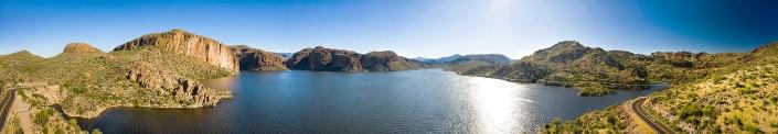 Drone panoramic of Canyon Lake Arizona