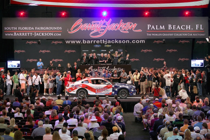 Carol Shelby Wounded Warrior charity Ford Mustang at Barrett-Jackson car auction.