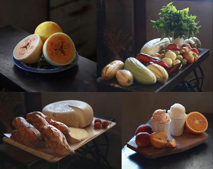 Editorial photography of fresh melons, vegetables, bread, cheese and dessert prepared by Chris Bianco for Phoenix Magazine. Image by Phoenix commercial photographer Jason Koster.