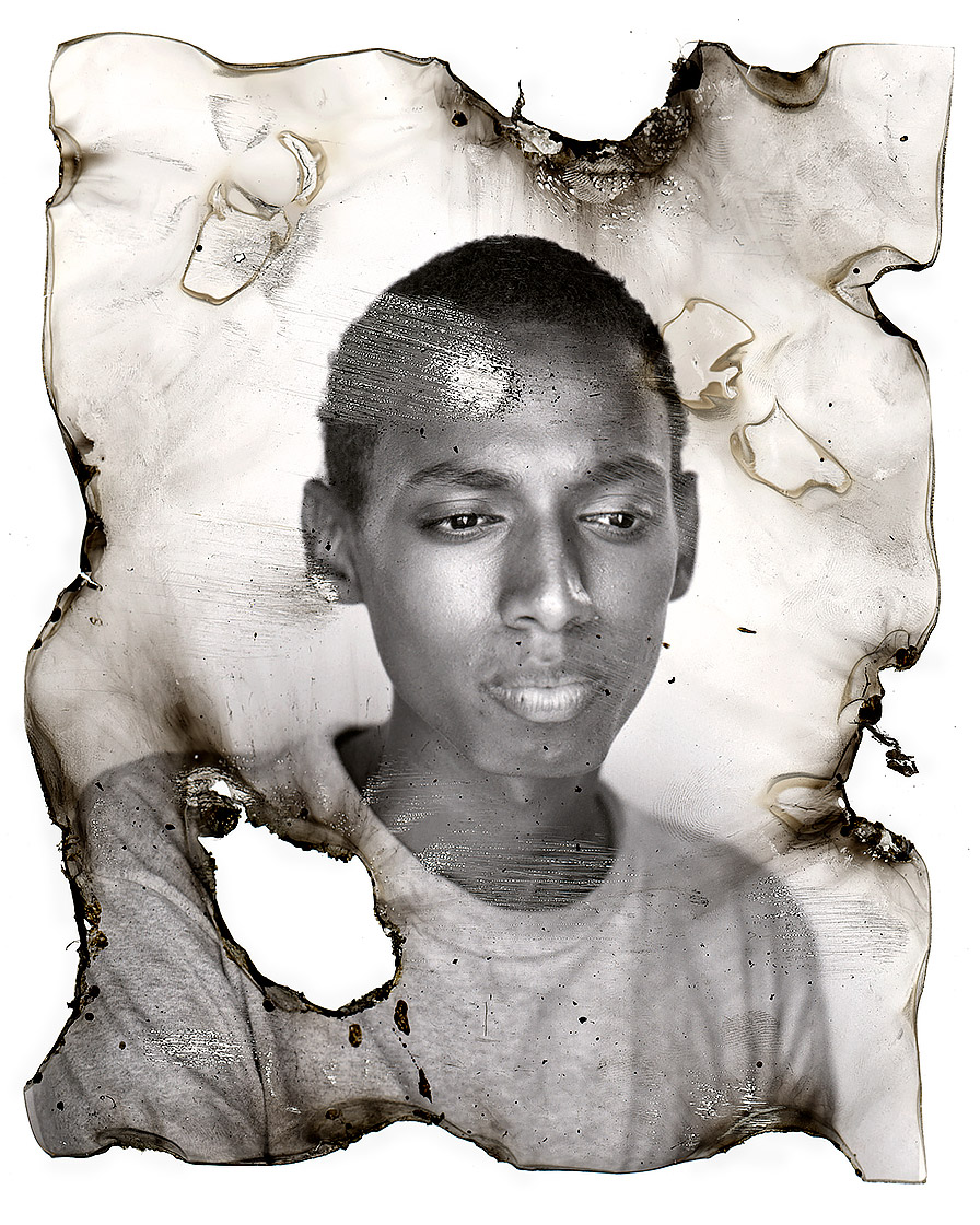 Distressed black and white portrait of homeless youth.