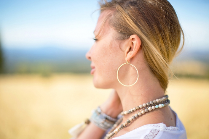 Gold Hoop Earring Mala Prairie Phoenix catalog photographer fashion photographer southwest north american jewelry photographer
