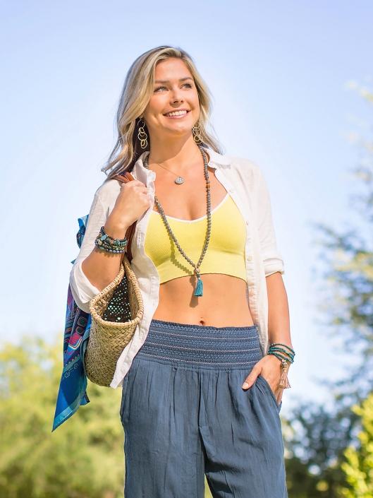 Mala Bracelet Yoga Attire Smile Phoenix catalog photographer fashion photographer southwest north american jewelry photographer