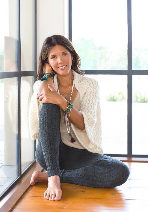 Mala Hoop Earring Sweater Yoga Studio Windows Phoenix catalog photographer fashion photographer southwest north american jewelry photographer