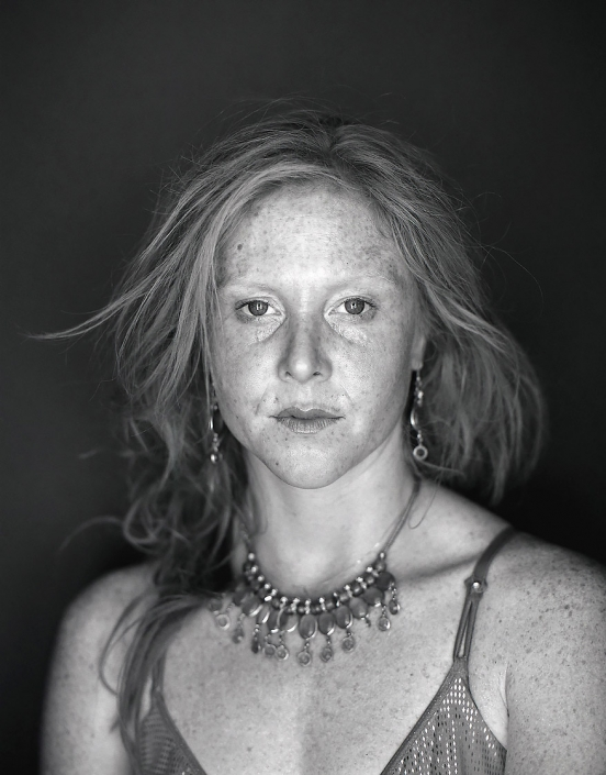 Black and White, Fine Art Portrait of freckle faced redhead woman named Ariana at Burning Man by Phoenix commercial photographer Jason Koster.