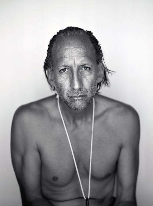 Black and White, Fine Art Portrait of Bill Tonnesen at Burning Man by commercial photographer Jason Koster.