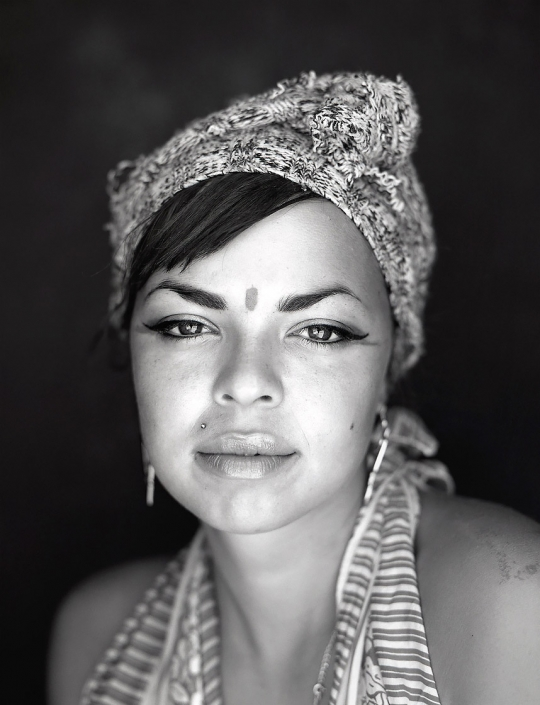 Black and white, Fine Art Portrait of a young woman name Debbi with a bindi dot at Burning Man by Phoenix commercial photographer Jason Koster.