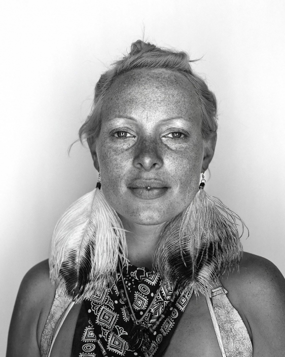 Black and white, Fine Art Portrait of exotic woman named Sheila at Burning Man by Phoenix commercial photographer Jason Koster.