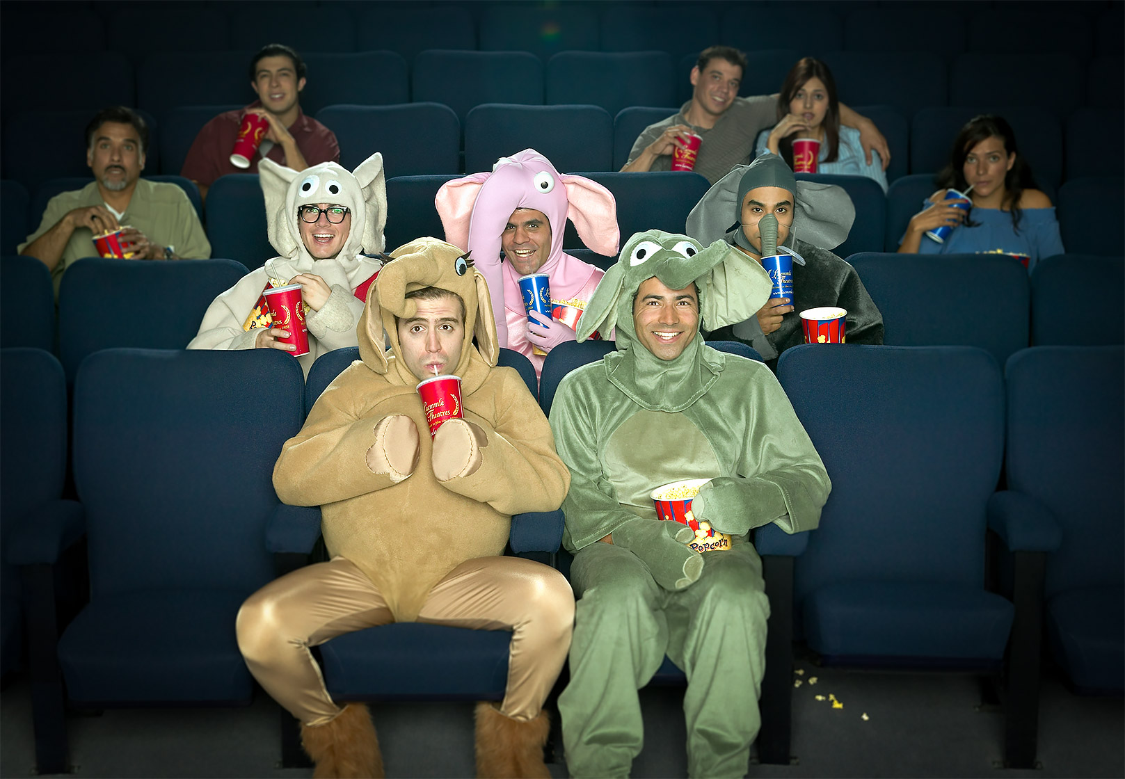 Five guys in elephant costumes with refreshments at the movies. Shot for Ford Focus by Phoenix product photographer Jason Koster.