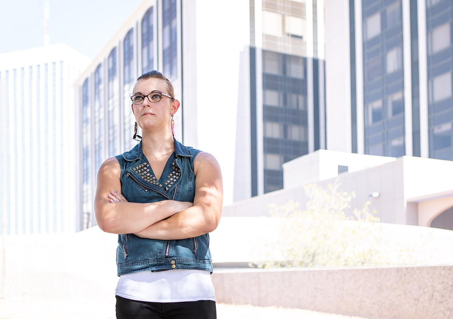Editorial portrait of trans woman shot by Phoenix editorial photographer Jason Koster