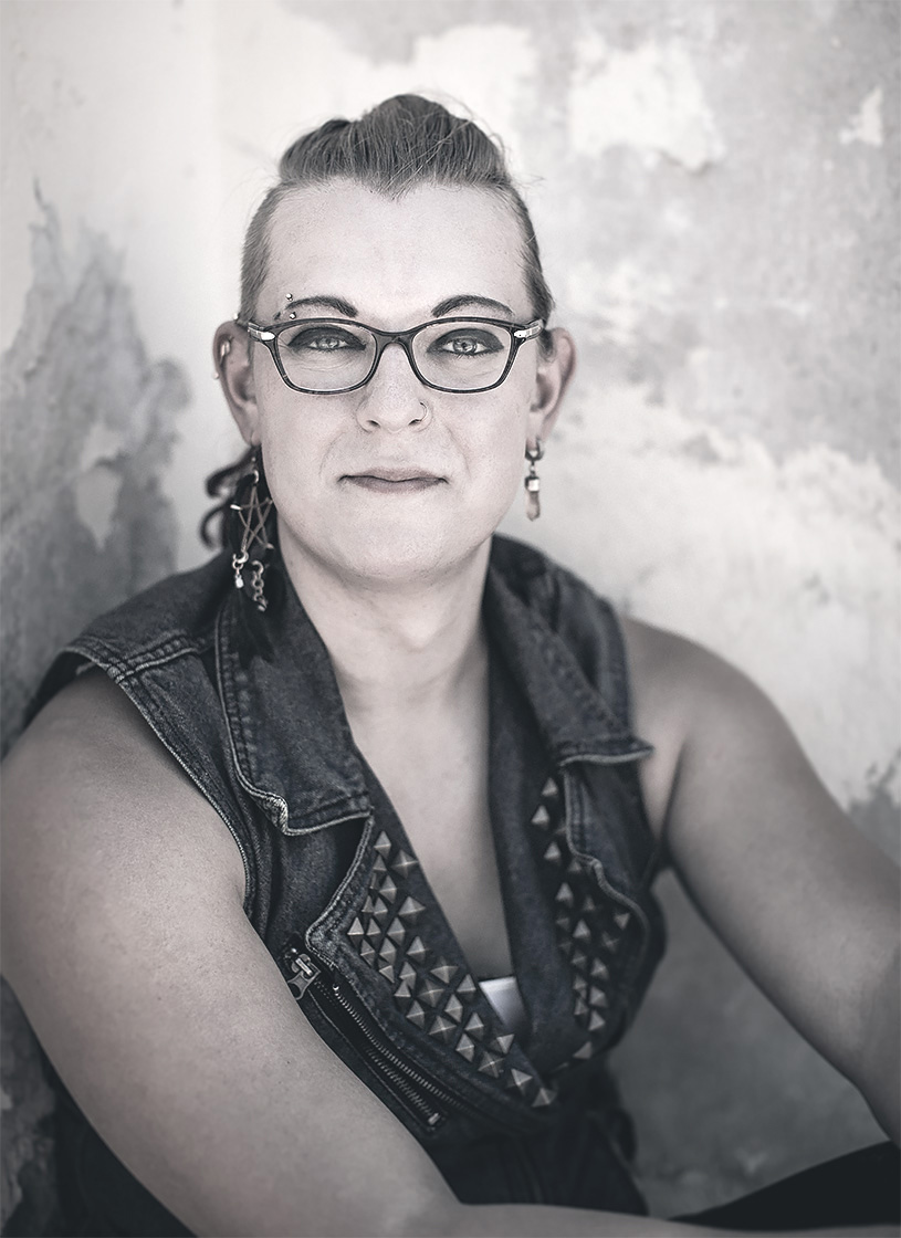 Black and white editorial photography of trans woman for Citi Bank shot by Phoenix editorial photographer Jason Koster.